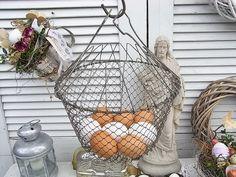 Vintage Osterdeko - alter Eierkorb Salatschleuder fil de fer shabby - ein Designerstück von artdecoundso bei DaWanda
