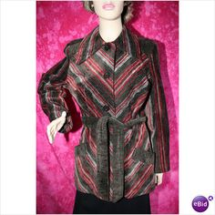 Vintage 1970 Velvet Pointy Collar Striped Jacket Size 16 New without Tag Rare
