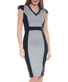 Houndstooth cap sleeve panel dress Sale - Simonette Sale