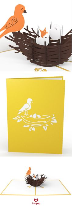 Gift a new mom paper art inside of an adorable pop up card. A mama bird feeds her little baby inside this baby shower card. #expecting