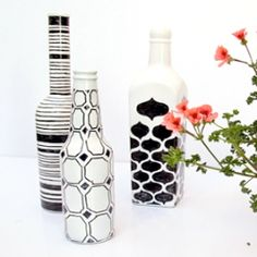 Turn simple white-painted wine bottles into works of art, a great project for all ages.