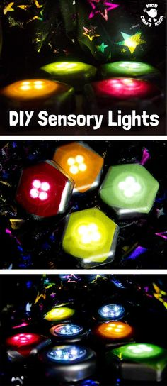 DIY SENSORY LIGHTS - A wonderful homemade sensory play activity for babies, toddlers and preschoolers. This sensory play idea is so easy and thrifty to make. Kids will love exploring and learning with this set of coloured lights. by jannie Baby Sensory Play, Sensory Rooms, Autism Sensory, Sensory Bins, Diy Sensory Toys For Babies, Sensory Table, Sensory Room Ideas For Adults, Sensory Issues, Sensory Bottles