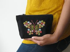 Hand Embroidered butterfly bag  #needlework #handmade #embroidery #embroideredpurse #zipperpouch #multicolor #butterfly #floral #makeupbag