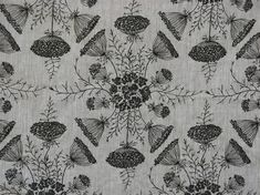 Queen Anne's Bouquet in Black and Oatmeal - By the Yard