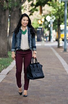 cute & little blog | ae denim jacket, white polka dot shirt, burgundy jeans, green la flor statement necklace, louboutin decollete black patent décolleté pump outfit #ootd