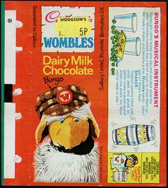 Cadbury's - The Wombles - Bungo - chocolate bar wrapper - collected these wrappers. Old Sweets, Vintage Sweets, Retro Sweets, 1970s Childhood, My Childhood Memories, Chocolate Bar Wrappers, Retro Chocolate Bars, Chocolate Sweets, Sweet Wrappers