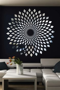 Wall Decals Reflective Forever Diamonds Mirror, Optical Illusion, Wave, Mirror, Bolt, Dimensions-WALLTAT.com Art Without Boundaries