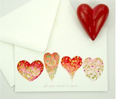 love heart valentine sweetheart wedding card set by atticEditions.etsy.com