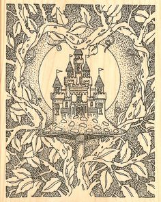 Magic Castle with Vines Wood Mounted Rubber Stamp Impression Obsession H1800 New   eBay
