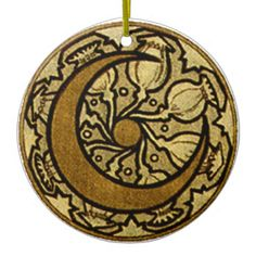 <h2>Alphonse Mucha's Crescent Moon</h2>  This design shows an Art Nouveau styled new moon, or a crescent moon, surrounded by poppy seed pods. The image is in golds and bronzes, and the whole image is in the shape of a circle. Very graphic, and very beautiful! This gift is for anyone who loves Art Nouveau designs, and for those who love the phases of the moon.  <h3>About <i>the Zodiac Moon</i> by Alphonse Mucha</h3>  The Zodiac Crescent Moon is a small piece of the image Zodiac, which was ...