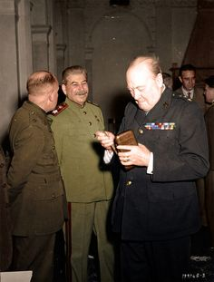 Joseph Stalin and Winston Churchill, Feb 1945 (colorized by Mads Madsen)