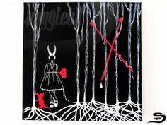Woods - An original, one of a kind, surreal dark art acrylic painting on canvas. A line drawing, imitating yarn or string, of a skull head girl…
