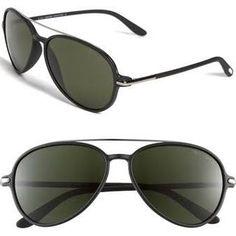 bddf945cfae YOU will be missed  Tom Ford  Ramone  Aviator Sunglasses Semi Matte Black   Green