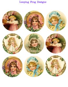 Leaping Frog Designs: Free Collage Page For You Victorian Girls Leaping Frog Designs Bottle Cap Art, Bottle Cap Crafts, Bottle Cap Images, Vintage Tags, Vintage Labels, Vintage Prints, Vintage Ephemera, Vintage Girls, Printable Designs