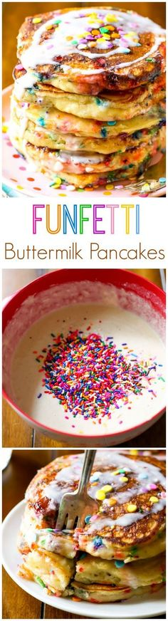 Funfetti Buttermilk Pancakes by sallysbakingaddic. Fluffy and piled high, these vanilla glazed funfetti buttermilk pancakes are the sweetest way to wake up in the morning! Birthday Breakfast, Breakfast For Kids, Breakfast Recipes, Birthday Pancakes, Breakfast Pancakes, Birthday Brunch, Birthday Kids, Brunch Recipes, Pancakes Kids
