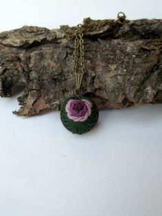 Pendant with hand embroidered rose (color V) by ZoZulkaart on Etsy