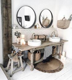 32 Small Bathroom Design Ideas for Every Taste - The Trending House Boho Bathroom, Bathroom Colors, Bathroom Styling, Bathroom Sets, White Bathroom, Bathroom Interior, Small Bathroom, Bathroom Plants, Bad Inspiration