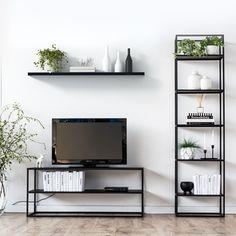 SIMPLEX TV-Lowboard 120 Schwarz minimalistisch TV Bank Metall | NOTORIA