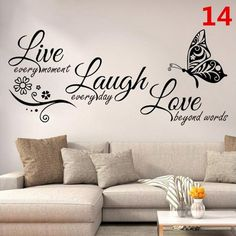 Live Laugh Love Butterfly Flower Wall Art Sticker Modern Wall Decals Quotes Vinyls Stickers Wall Stickers Home Decor Living Room(China) Diy Sticker, Wall Stickers Home Decor, Wall Decor, Living Room Wall Stickers, Floor Stickers, Bedroom Decor, Window Stickers, Wall Stickers Family, Wall Stickers Quotes