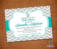 TIffany Blue and Grey Chevron Baby Shower Invitation -Chevron Zig Zag Stripe Tiffany Blue Gray Digital File on Etsy, $10.00
