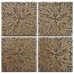 Contempo Bouquet Bronze 2 in. x 2 in. Tozetto Medallion Floor and Wall Insert Tile (Pack of 4)  Home Depot $13.95/pkg