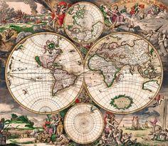 The 20 best antique maps vintage maps art prints images on antique world map old vintage map 1689 fade resistant hd print or canvas gumiabroncs Images