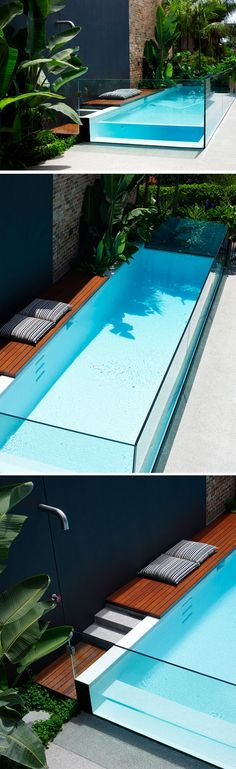 Glass pool.  Interesting water feature without sacrificing lawn space.