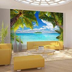 murando - Fototapete Tropische Insel 400x280 cm - Vlies Tapete - Moderne Wanddeko - Design Tapete - Wandtapete - Wand Dekoration - Tropical Insel Strand Meer See Himmel Blau Landschaft Palmen Laguna 10110903-21