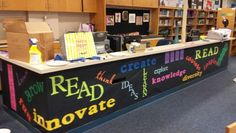 My updated circulation desk...really brightens the library.  Thanks Lynda and Karen