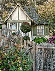 """Hansel~a beautiful fairytale cottage in Carmel, CA. Built in 1924 by Hugh Comstock.  He built it for his wife to display her dolls.  Originally named """"Doll House""""."""