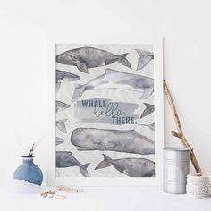 Whale Hello There Nautical Watercolor Gray Wall Art Print or Canvas – Jetty Home Whale Nursery, Nursery Art, Nursery Decor, Beach Chic Decor, Nautical Painting, Watercolor Whale, Grey Wall Art, Wall Art Prints, Canvas Prints