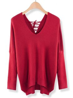 Women Long Sleeve Deep V Neck Knit Sweater - Gchoic.com