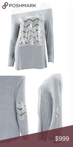 Coming soon!  Chevron Sequin Elbow Patch Top Cotton.  Spandex. Long sleeve silver sparkle tee! Feel great- Look Amazing! The Blossom Apparel Tops Tees - Long Sleeve