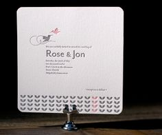 Sweet, pretty letterpress takes flight with modern romance on the wings of Hummingbirds by Tara Hogan for a charming wedding with casual lovebird style.