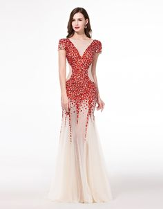 Red Crystal Haute Couture Evening Dresses New Arrival 2015 Sheer Short Sleeve Evening Prom Gown Mermaid Vestidos de Noche Largo(China (Mainland))
