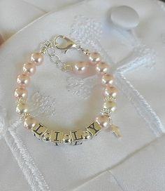 Baptism Name Bracelet-Baby by sugarontopjewelry on Etsy