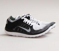 Nike Free Flyknit 4 0-Black-White-Volt