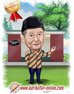 karikatur kenang-kenangan untuk pak rw yang pensiun