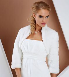 Fur jacket with 3/4 sleeves, in ivory. Jacket also matches fur stole if used for bridesmaids