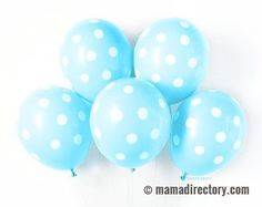 Boy Baby Shower Gender Reveal Ideas Birthday Party decoration kits White Light Blue Polka Dot Balloons