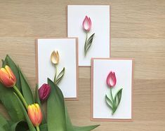 Set of Quilling Card - Quilled tulip Handcrafted Card - Handmade Flower Card - Spring card - Small gift - Gift for wife Set of Quilling Flower Tulip Card Mother's Day Paper Quilling Flowers, Paper Quilling Cards, Quilled Paper Art, Paper Quilling Designs, Quilling Paper Craft, Quilling Patterns, Paper Crafts, Quilled Roses, Quilling Ideas