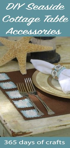 Create a cosy feel for your home with DIY seaside cottage placemats and napkin rings. Beach chic beaded napkin rings and hand embroidered placemats give an ocean feel. Crafts To Make, Fun Crafts, Amazing Crafts, Shabby Chic Patio, Chip And Joanna Gaines, Table Accessories, Rustic Farmhouse Decor, French Country Decorating, Sewing For Beginners