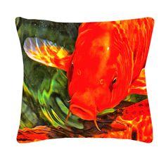 Koi Art Throw Pillow: Orange Koi Close Up | Koi-Care Store