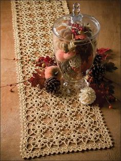 Trellis of Love - an exquisite lacy table runner - free crochet pattern and would you believe it says : LEVEL: EASY?? It does!.