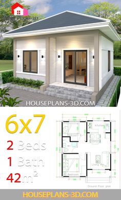 Tiny 2 Bedroom House Plans - 12 Tiny 2 Bedroom House Plans, House Design with 2 Bedrooms House Plans Simple House Plans, Tiny House Plans, Modern House Plans, House Floor Plans, Flat House Design, Modern Small House Design, Simple House Design, Modern Design, Small House Layout