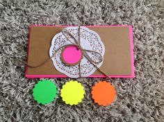 Blank Kraft cardstock cards with neon envelopes,set of 5 flat note cards and 5 envelopes,gift pack, DL size envelopes by PinkyPromiseBargains on Etsy