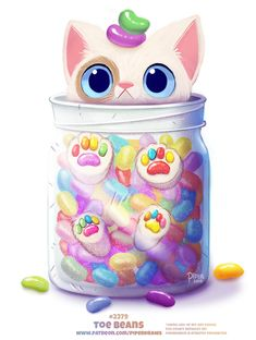 Daily Paint Toe Beans by Cryptid-Creations on DeviantArt - Clou,clouer Cute Food Drawings, Cute Animal Drawings Kawaii, Cute Cartoon Drawings, Kawaii Drawings, Cute Fantasy Creatures, Cute Creatures, Animal Puns, Animal Food, Cat Drawing