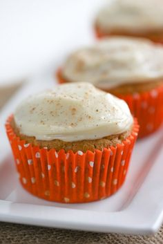 Pumpkin Cupcakes With Cream Cheese Frosting Swap out frosting for cream cheese and ad vanilla pudding.  Use Splenda and applesauce
