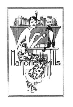 "Ex Libris Marjorie Mills from ""Australian Personal Bookplates,"" 2000 edition,   © Andrew Guy PEAKE (Author), Tudor Australia Press ...  A [brief] Review by Richard H. Schimmelpfeng. via ex libris chronicle.blogspot... Flapper, Cat, Books, Reading Tea Leaves ..."