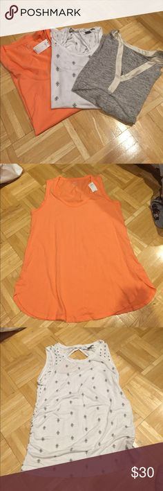 Gap/Old Navy maternity sleeveless bundle NWT Gap Maternity sleeveless scoop neck tank in coral/orange color size S; Old Navy maternity sleeveless shirt with top back diamond opening. Super cute and small stain as pictured; Gap maternity sleeveless gray tank. 100% linen. Great condition! Gap/Old Navy Tops Tank Tops